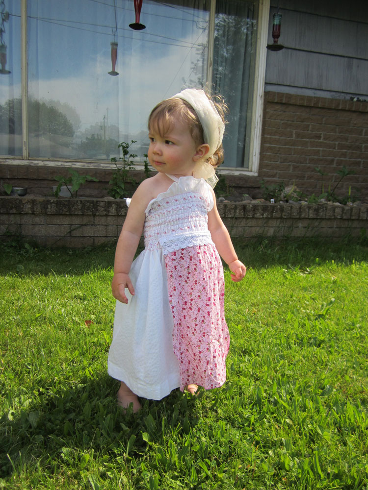 Toddler, Little White Apron Front Sun Dress, 12 month, One of a Kind, Ready to Ship, Free Shipping
