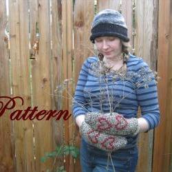 Tunisian Crochet Mitten Pattern, Woman and Men adult sizes