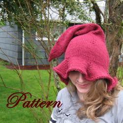 Womens Witch or Elf Hat Pattern, Adult hat pattern
