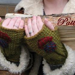Tunisian Crochet Fingerless Mitt Pattern, Woman and Men adult sizes